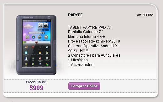 , Tablet Papyre Pad 7.1 en Argentina, Precio y Características